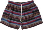 Hippie Tribal Striped Woven Cotton Shorts with Pockets