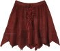Wine Colored Rodeo Mini Skirt with Tiers and Tie Up Lace