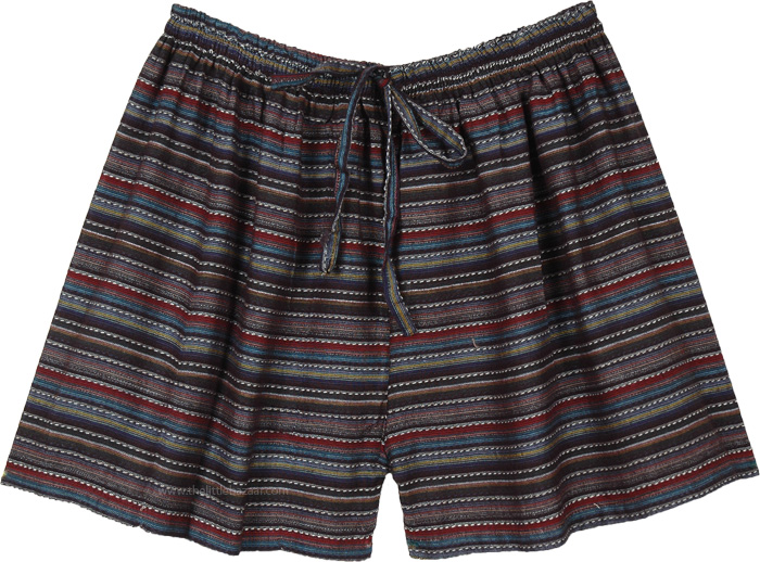 Striped Pattern Cotton Sleepwear Lounge Shorts