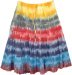 Tiered Cotton Short Skirt Tie Dye Color Flames