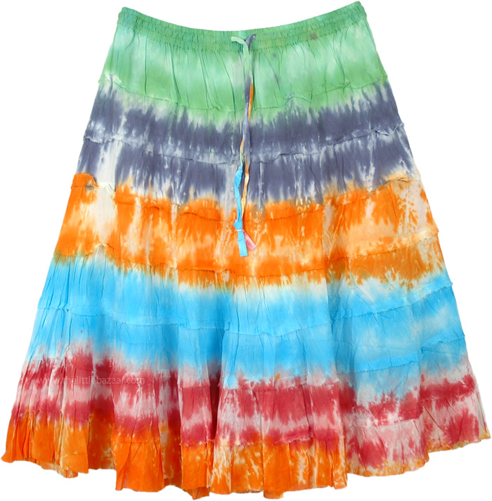 Tie Dye Color Parade Tiered Cotton Short Skirt