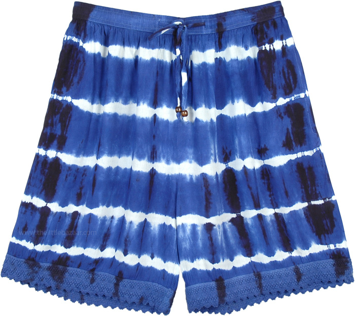 Persian Blue Tie Dye Beach Summer Shorts