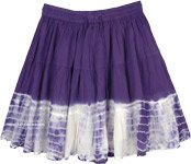 Indigo Purple Tiered Mini Skirt with White Wave Tie Dye Effect