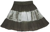 Black White Cotton Crinkled Short Skirt