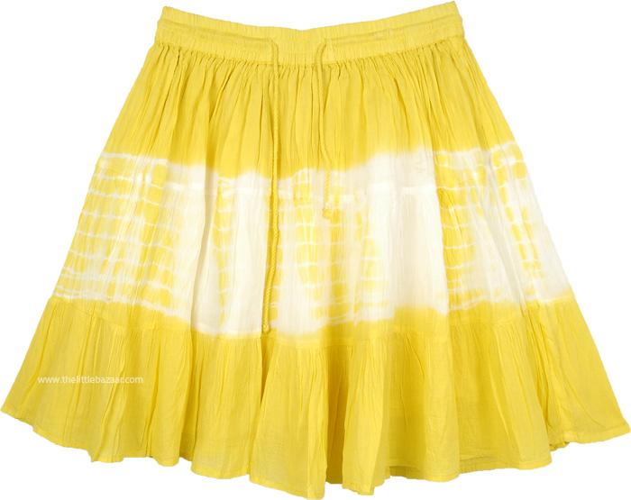 Sun Yellow and White Tie Dye Short Skirt