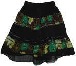 Sequins Georgette Garden Black Short Skirt