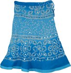 Beach Breeze Cotton Tie Dye Blue Short Skirt