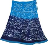 Deep Waters Cotton Tie Dye Blue Short Skirt