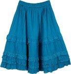 Turquoise Blue Eyelet Frills Skirt