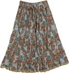 Rust Blue Boho Crinkled Ladies Short Skirt