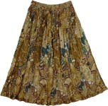 Boho Crinkled Short Skirt Earthen Floral