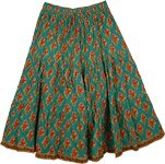 Green Pea Short Cotton Floral Skirt