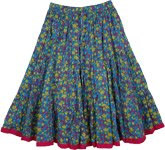 Venice Blue Floral Skirt in Short