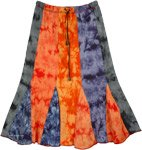 Flaming Sunlight Jersey Stretch Cotton Knee Length Skirt Extra Small