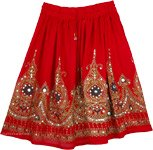 Red Sequin Short Belly Dancing Skirt Extra Small