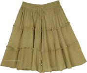 Dusty Olive Green Tiered Cotton Short Skirt