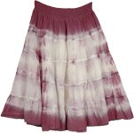 Purple White Tiered Cotton Short Skirt