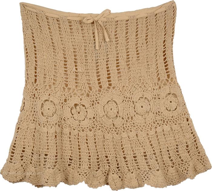 Camelot Sexy Crochet Mini Skirt Short Skirts Brown Crochet