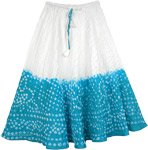 Teal Cotton Skirt Tie Dye for Little Girls