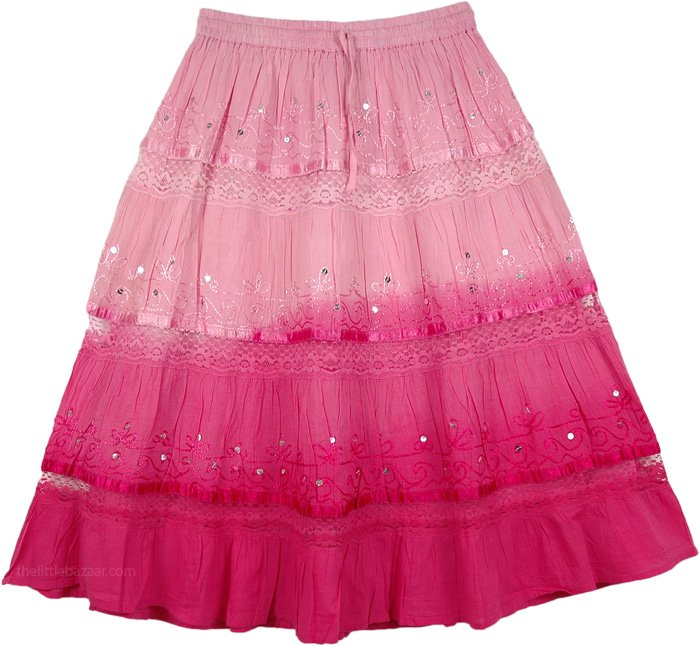 Cabaret Ombre  Cotton Below The Knee Skirt