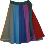 Vertical Panels Colorful Cotton Knee Length Skirt