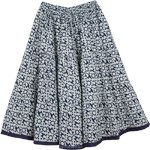 Abstract Steel Gray On White Boho Skirt