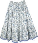 Hydrangea Blue Cotton Indian Knee Length Skirt