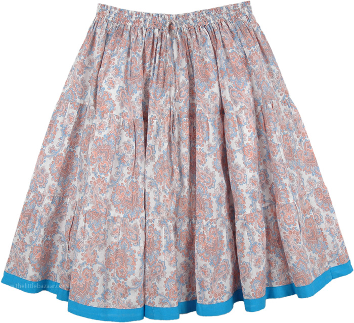 Serenity Floral Full Short Summer Cotton Skirt