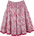 Crimson Pink Floral Short Summer Skirt
