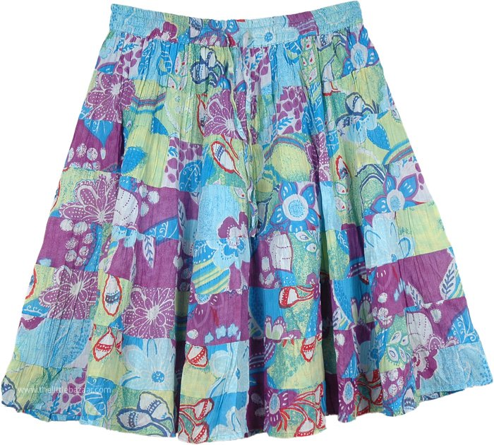 Pastel Blue Floral Short Skirt