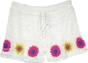 Crochet Boy Shorts in White For Women