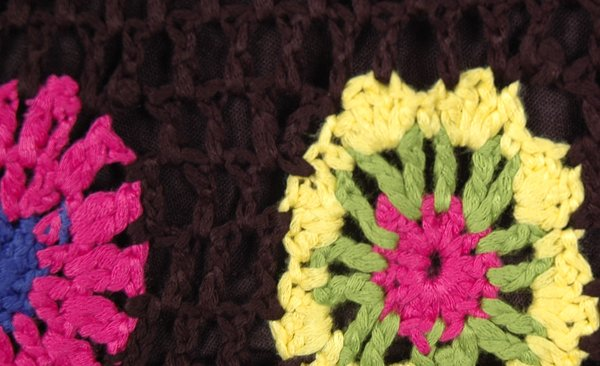 Black Shorts in Crochet with Flower Pattern