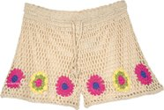 Beach Sand Crochet Shorts with Flower Pattern