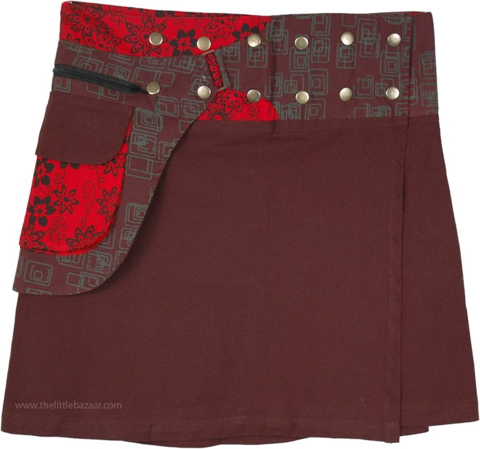 Ferra Snap and Wrap Skirt with Pocket