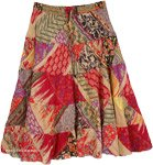 Funky Summer Knee Length Tiered Prairie Skirt