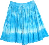 Ocean Waves Gathered Tie Dye Short Hippie Skirt