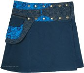 Blue Dianne Snap and Wrap Skirt with Pocket