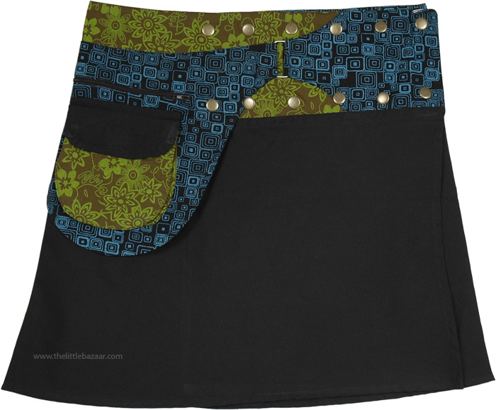 Short Snap Wrap-Skirt with Pesto Fanny Pack