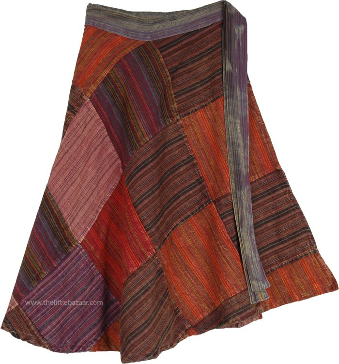Dark Earth Square Patch-Work Mid-Length Wrap Skirt