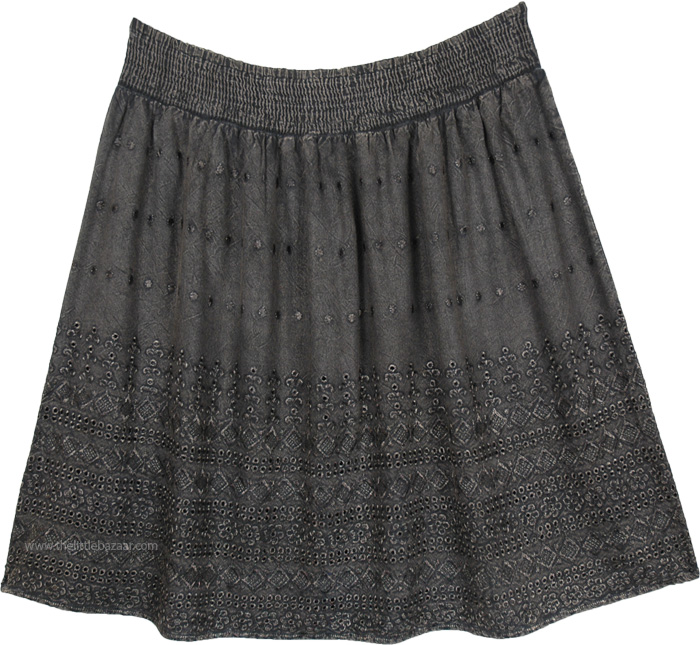 Stonewashed Grey Embroidered Knee Length Western Skirt