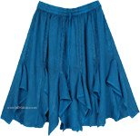 Gored Skirt In Teal with Minimalistic Embroidery