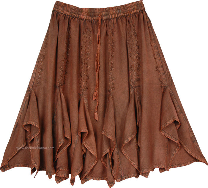 Spiced Nutmeg Knee Length Skirt Western Rodeo