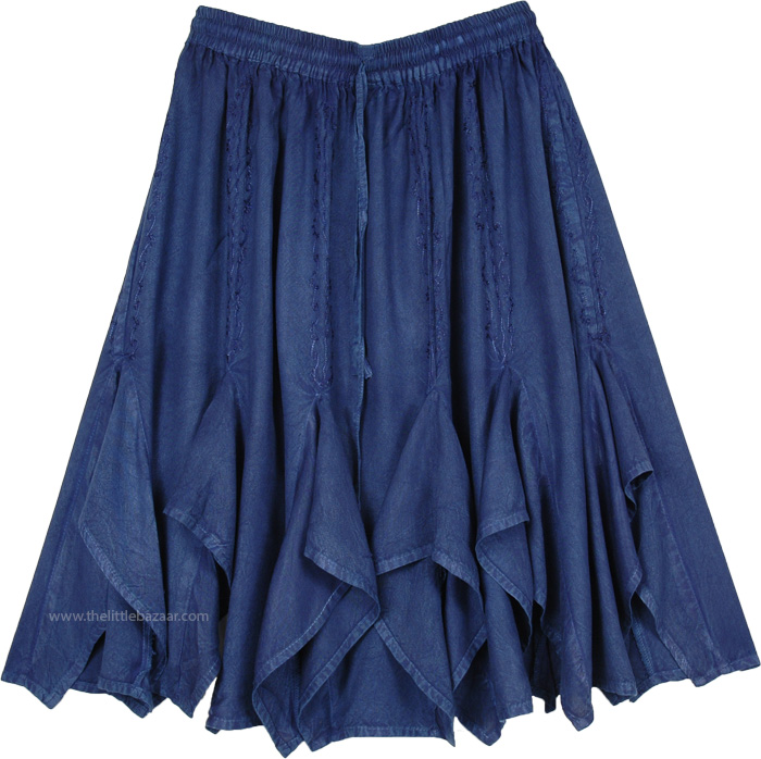 Egyptian Blue Flared Gore Western Rayon Skirt