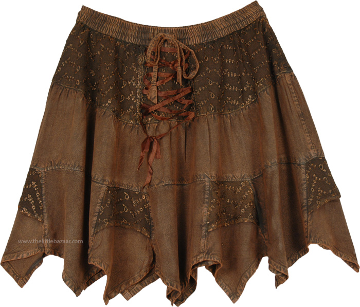 Coco Brown Rodeo Mini Skirt with Tiers and Tie Up Lace