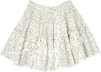 Yellow Spring Floral White Mini Skirt in Tiers