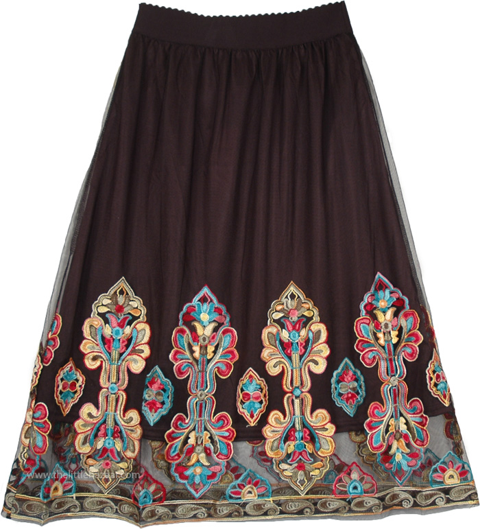 Mesh Black Lined Skirt with Kashmiri Embroidery Motifs