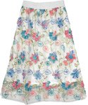 Pink and Blue Floral Embroidery Sheer White Spring Skirt