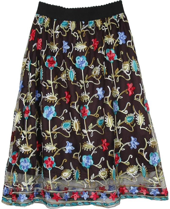 75b827bc4f Gypsy Sheer Black Skirt with Colorful Mexican Embroidery | Short ...