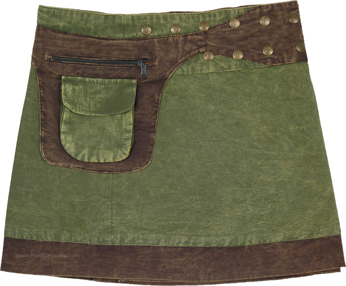 Nature Green Earth Brown Mini Wrap Skirt with Fanny Pack
