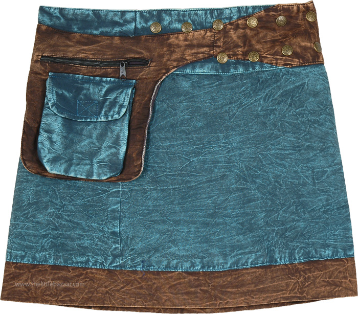 Ocean Blue Short Skirt in Stonewash Snap and Wrap Style